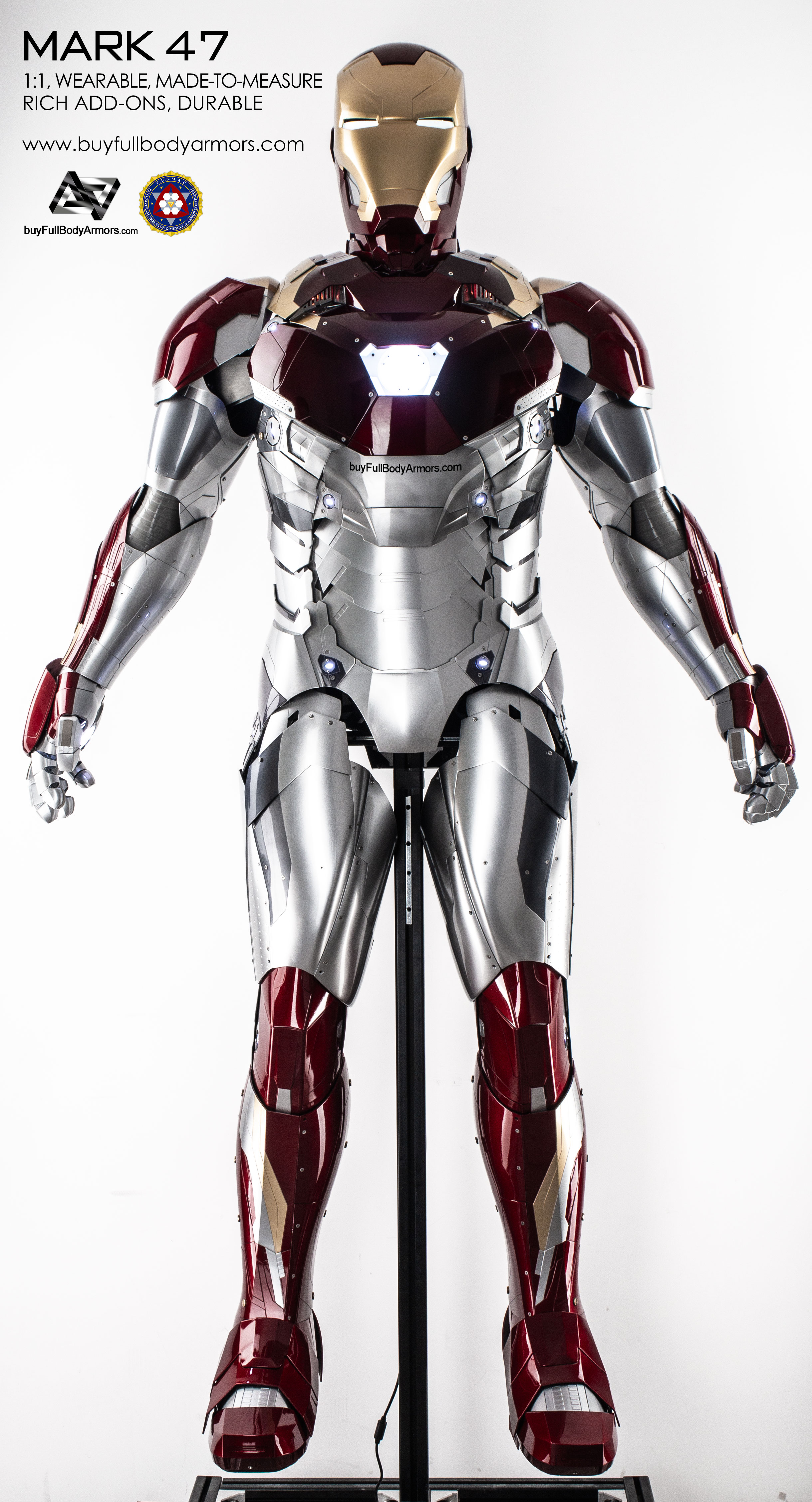 wearable iron man mark 47 armor costume full body painted front view